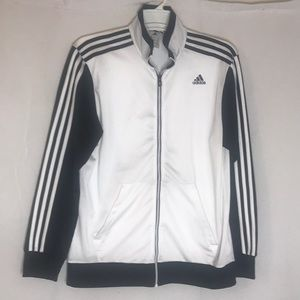 Adidas White and Black 3 Stripe Track Jacket
